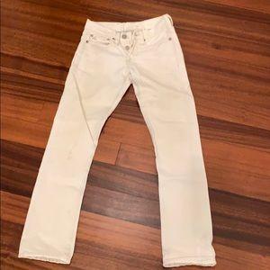 RRL white distressed low rise straight leg jean